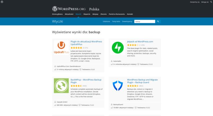 Widok oficjalnego repozytorium wtyczek systemu WordPress